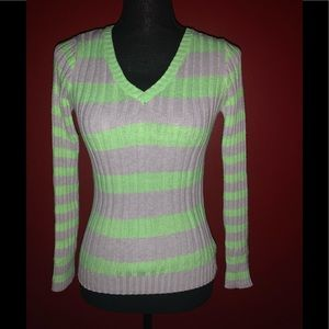 Justice V-neck Striped Sweater